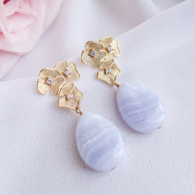 Triple Flower Ear Studs with Teardrop Blue Lace Agate