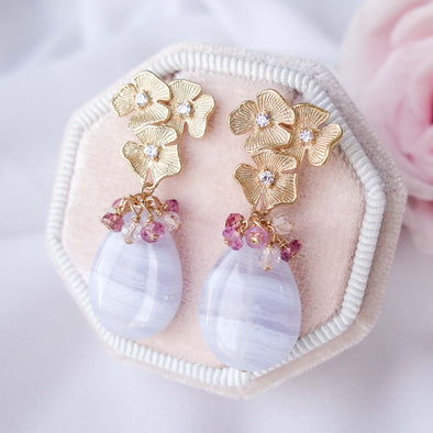 Triple Flower Ear Studs with Teardrop Blue Lace Agate and Gem Cluster