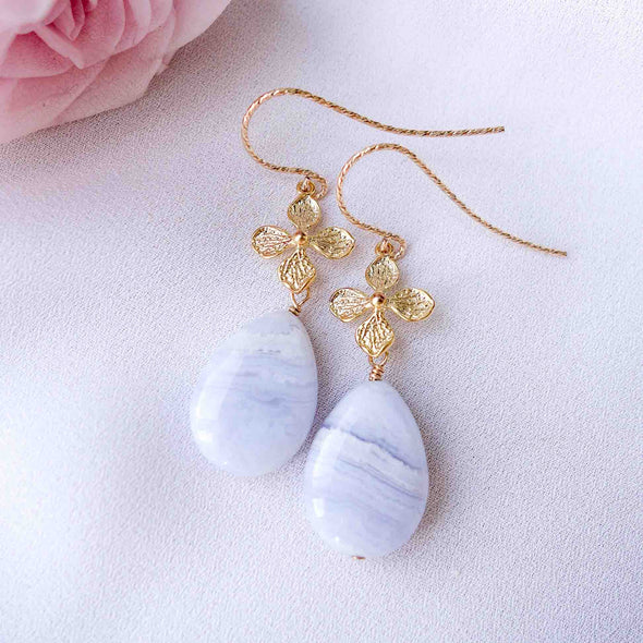 Floral Charm Hook Earrings with Teardrop Blue Lace Agate