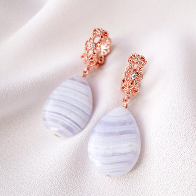 Intricate Ear Hoops with Teardrop Blue Lace Agate