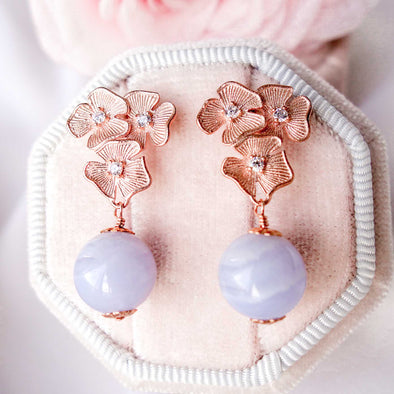 Triple Flower Ear Studs with Blue Lace Agate Bead