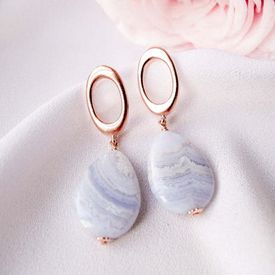 Chic Oval Ear Studs with Teardrop Blue Lace Agate