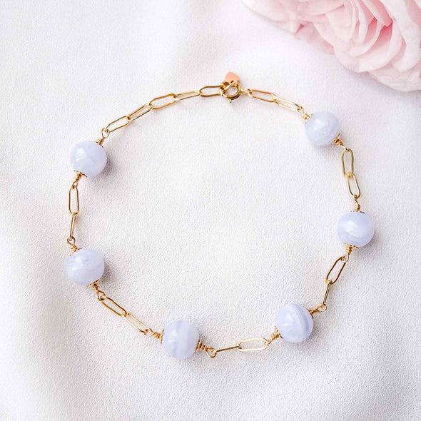 Paperclip Interval Bracelet with Blue Lace Agate - Gold Filled