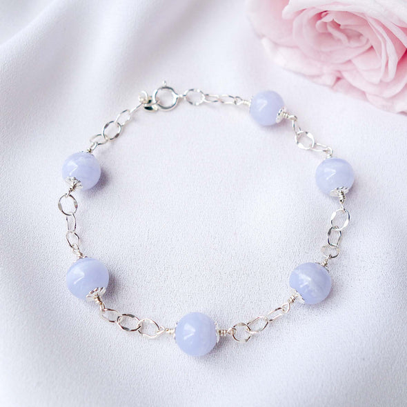 Sparkly Interval Bracelet with Blue Lace Agate - Sterling Silver