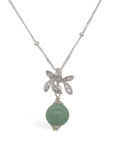 Jade with Sparkling Orchid Necklace