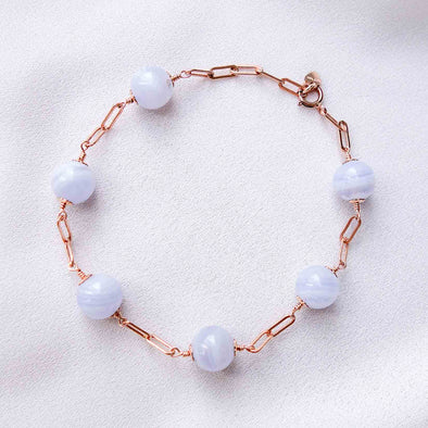 Paperclip Interval Bracelet with Blue Lace Agate - Rose Gold Filled