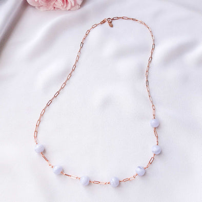 Paperclip Interval Choker Necklace with Blue Lace Agate - Rose Gold Filled