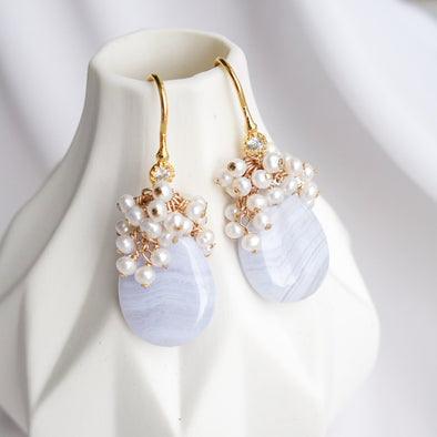 Teardrop Blue Lace Agate and Pearl Cluster Hook Earrings