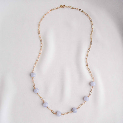 Paperclip Interval Choker Necklace with Blue Lace Agate - Gold Filled
