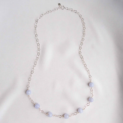 Sparkly Interval Choker Necklace with Blue Lace Agate - Sterling Silver