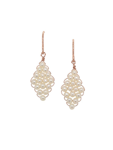 Hand-woven Pearl Earrings - Medium