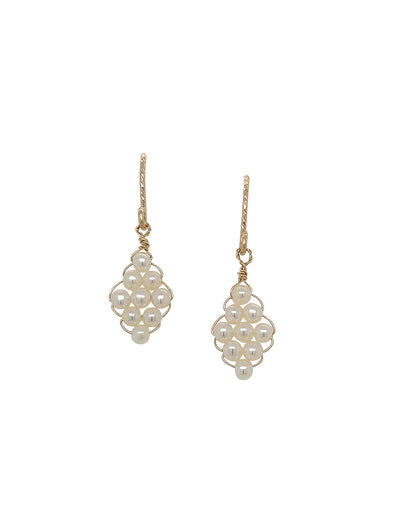 Hand-woven Pearl Earrings - Small