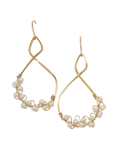 Twist Frame with Pearl Vine Earrings