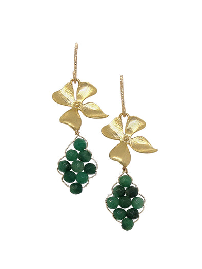 Hydrangea and Hand-woven African Jade Earrings