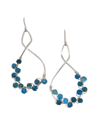 Twist Frame with Swiss Blue Apatite Vine Earrings
