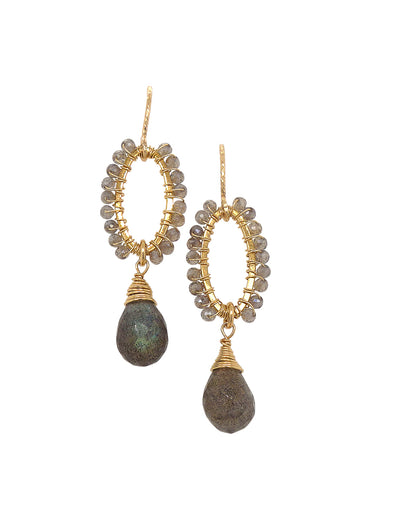 Elliptical Labradorite Hook Earrings