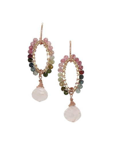 Elliptical Tourmaline and Rose Quartz Hook Earrings