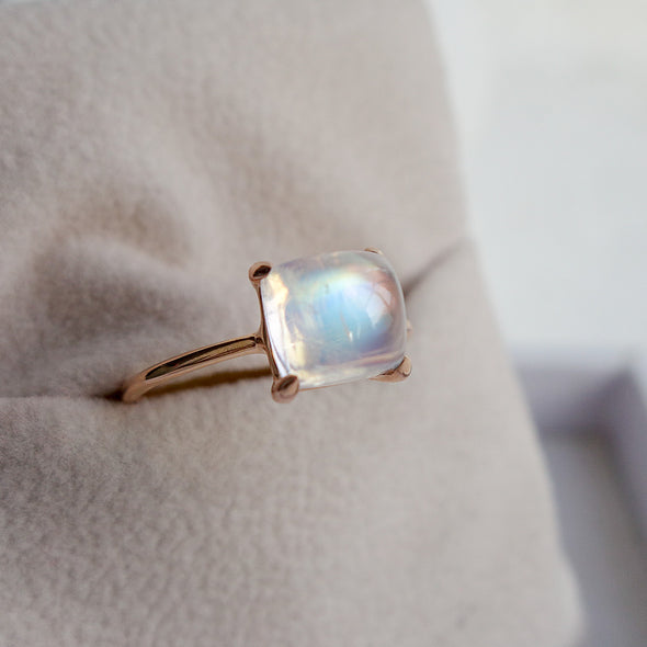 Rainbow Moonstone Cabochon Ring (One-of-a-kind) RMCR1R51