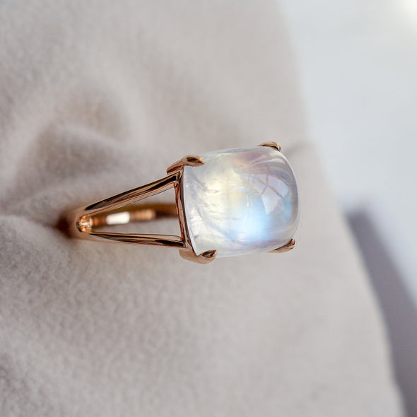Rainbow Moonstone Cabochon Ring (One-of-a-kind, Double Band) RMCR1R55