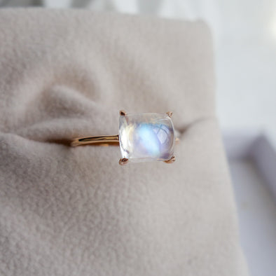 Rainbow Moonstone Cabochon Ring (One-of-a-kind) RMCR1R54