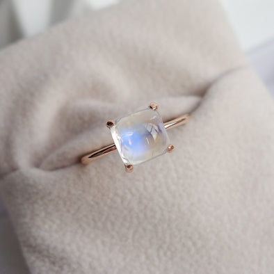 Rainbow Moonstone Cabochon Ring (One-of-a-kind) RMCR1R53