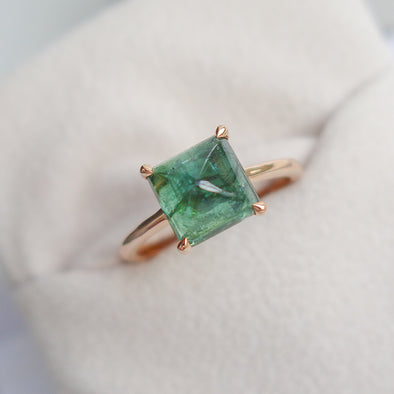 Tourmaline Cabochon Ring in Rose Gold - Olive Green