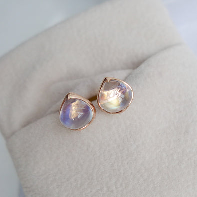 Rainbow Moonstone Ear Studs - 3 Carat