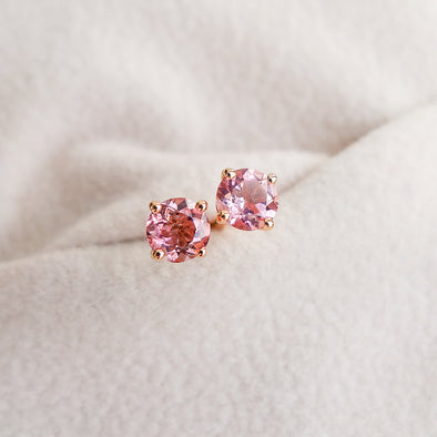 Tourmaline Solitaire Ear Studs - Peachy Pink