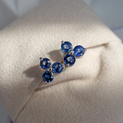 Past Present Future Sapphire Ear Studs in 18K White Gold
