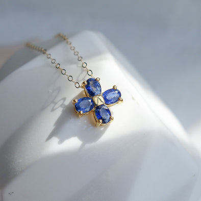 Lucky Clover Sapphire Pendant in 14k Yellow Gold