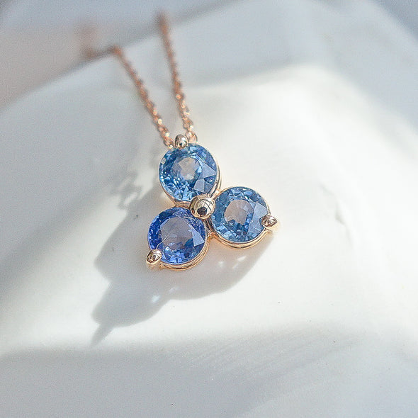 Past Present Future Sapphire Pendant in 14k Rose Gold