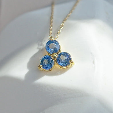 Past Present Future Sapphire Pendant in 14K Yellow Gold