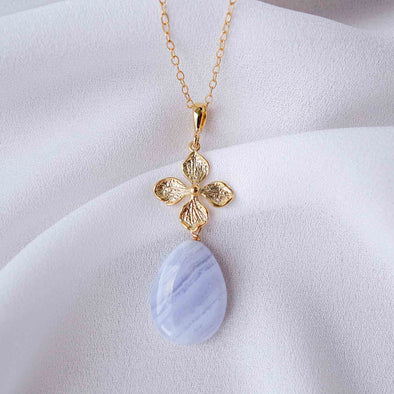 Floral Charm with Teardrop Blue Lace Agate Necklace