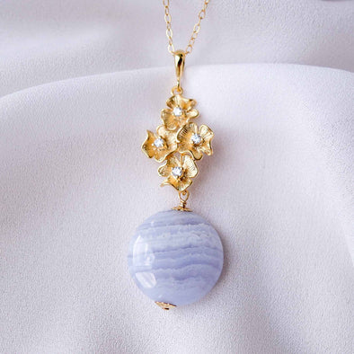 Four Flower Charm with Blue Lace Agate Disc Necklace