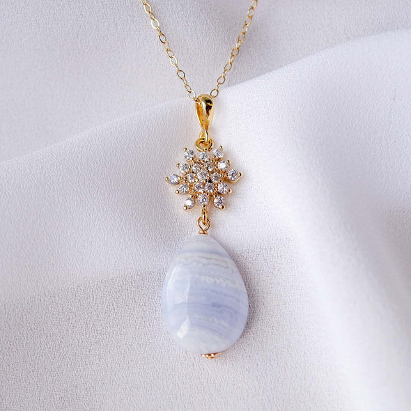 Snow Charm with Teardrop Blue Lace Agate Necklace Gold Filled