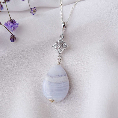 Diamond-shaped Charm with Teardrop Blue Lace Agate Necklace - Sterling Silver