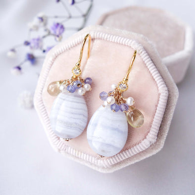 Teardrop Blue Lace Agate and Gem Cluster Hook Earrings