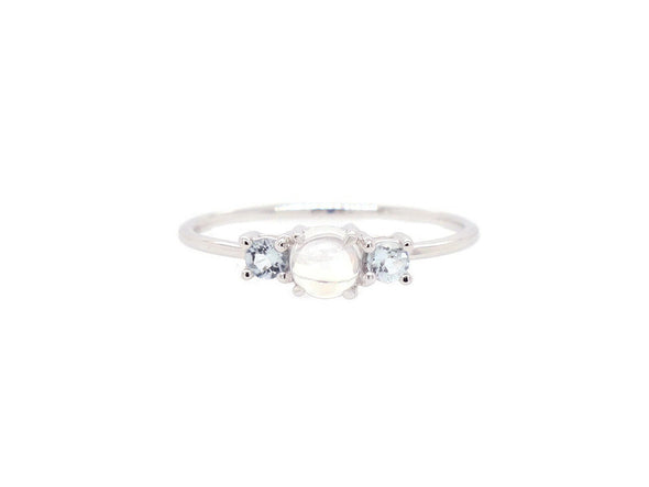 Trio Ring with Moonstone and Aquamarine - 14K White Gold