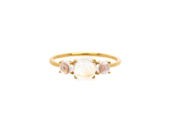 Trio Ring with Moonstones - 14K Yellow Gold