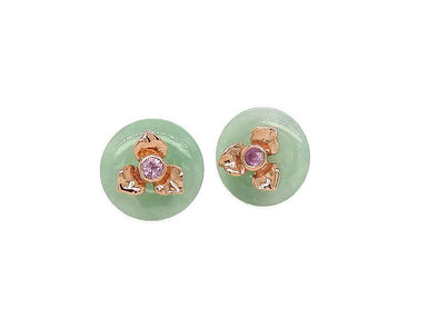 Floral Jade and Pink Sapphire Ear Studs