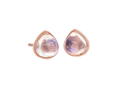 Rainbow Moonstone Ear Studs - 3.89 Carat