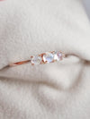 Past Present Future Ring with Moonstones - 14K Rose Gold