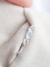 Past Present Future Ring with Moonstones - 14K White Gold