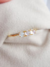 Past Present Future Ring with Moonstones - 14K Yellow Gold