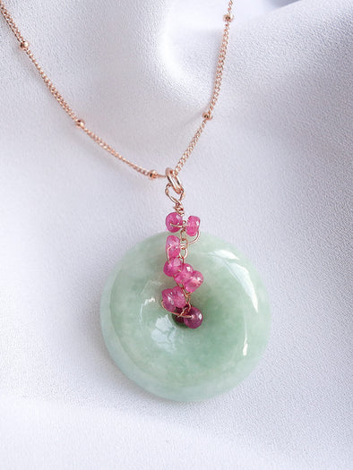 Jade Necklace with Pink Sapphire Vine