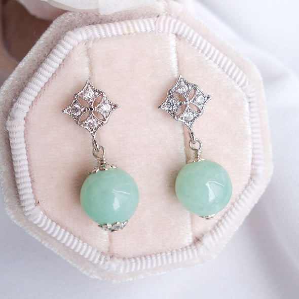 Green Jade with Diamond-shaped Ear Studs