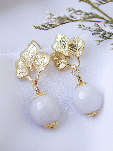 Lavender Jade with Three Leaf Hook Earrings