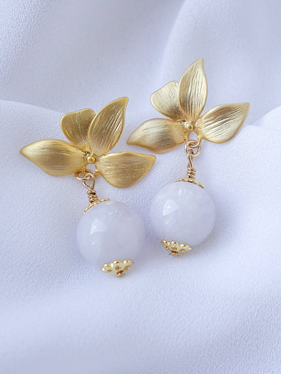 Four Petal Ear Studs with Lavender Jade Beads