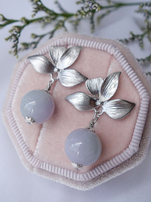 Four Petal Ear Studs with Lavender Jade