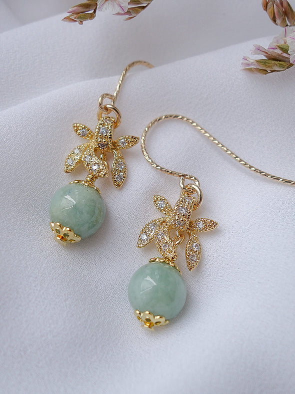 Jade with Orchid Charm Hook Earrings